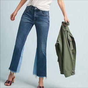 Pilcro High Rise Flare Raw Hem Jeans Women Size 25